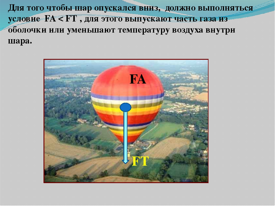 Для того чтобы шар опускался вниз, должно выполняться условие FA < FТ , для э...