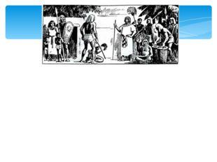 В белой одежде изображен сборщик налогов. Его сопровождает вооруженная охрана