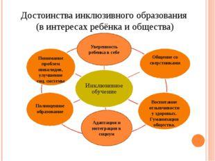 Достоинства инклюзивного образования (в интересах ребёнка и общества) Воспита
