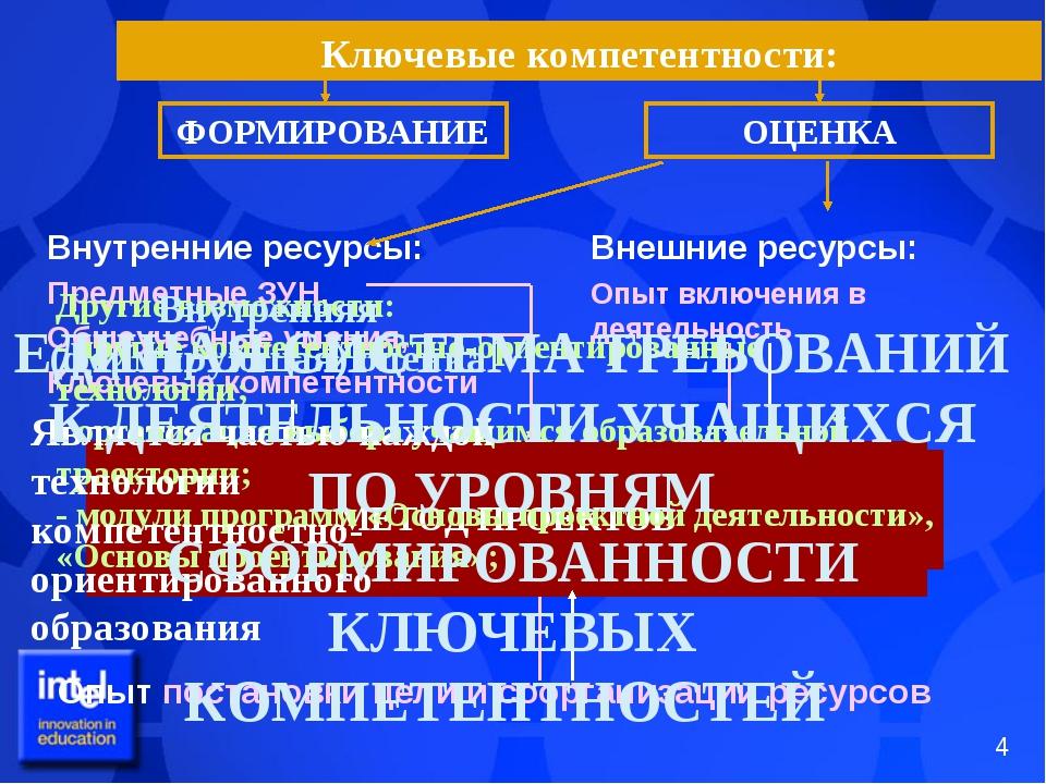 Ключевые компетентности: Внешние ресурсы: Опыт включения в деятельность Внутр...
