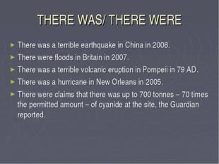THERE WAS/ THERE WERE There was a terrible earthquake in China in 2008. There