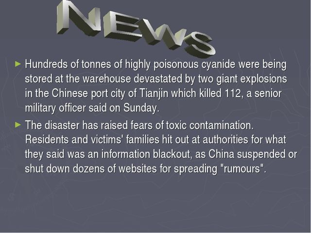 Hundreds of tonnes of highly poisonous cyanide were being stored at the wareh...