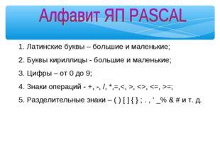Латинские буквы – большие и маленькие; Буквы кириллицы - большие и маленькие;