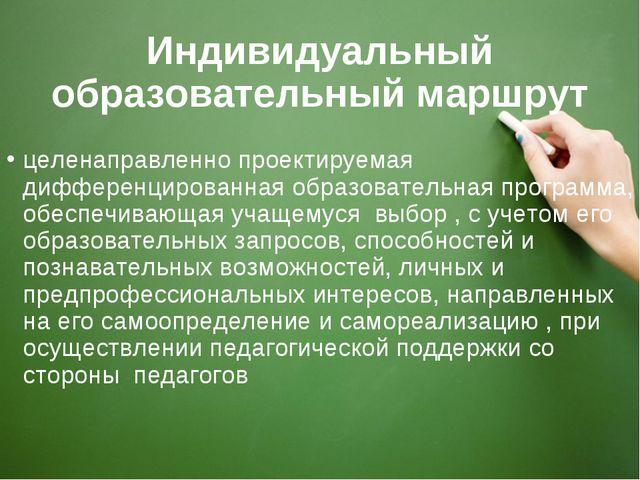 Индивидуальный образовательный маршрут целенаправленно проектируемая дифферен...