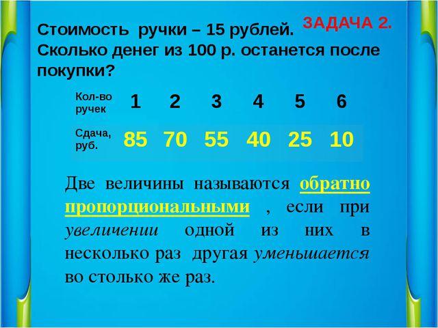 Стоимость ручки – 15 рублей. Сколько денег из 100 р. останется после покупки?...