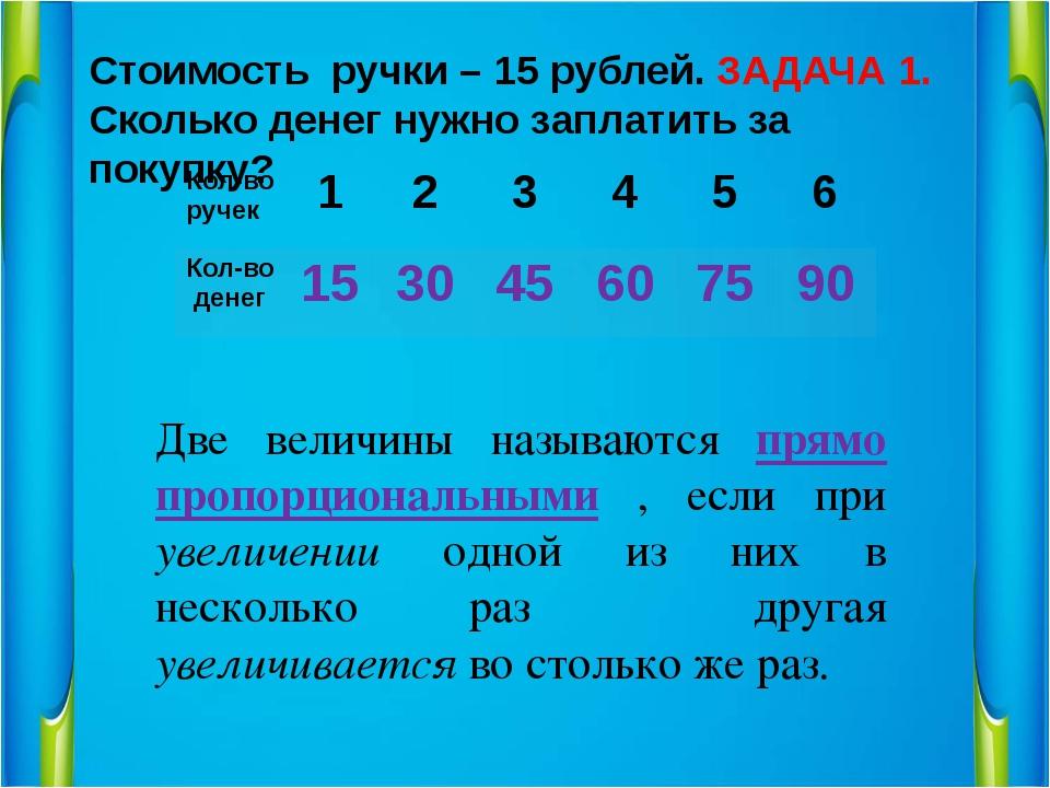 Стоимость ручки – 15 рублей. Сколько денег нужно заплатить за покупку? ЗАДАЧА...