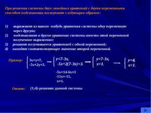 При решении системы двух линейных уравнений с двумя переменными способом подс