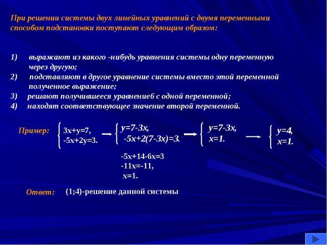 При решении системы двух линейных уравнений с двумя переменными способом подс...