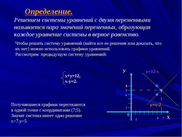 Определение. Решением системы уравнений с двумя переменными называется пара...