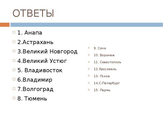 ОТВЕТЫ 1. Анапа 2.Астрахань 3.Великий Новгород 4.Великий Устюг 5. Владивосток...