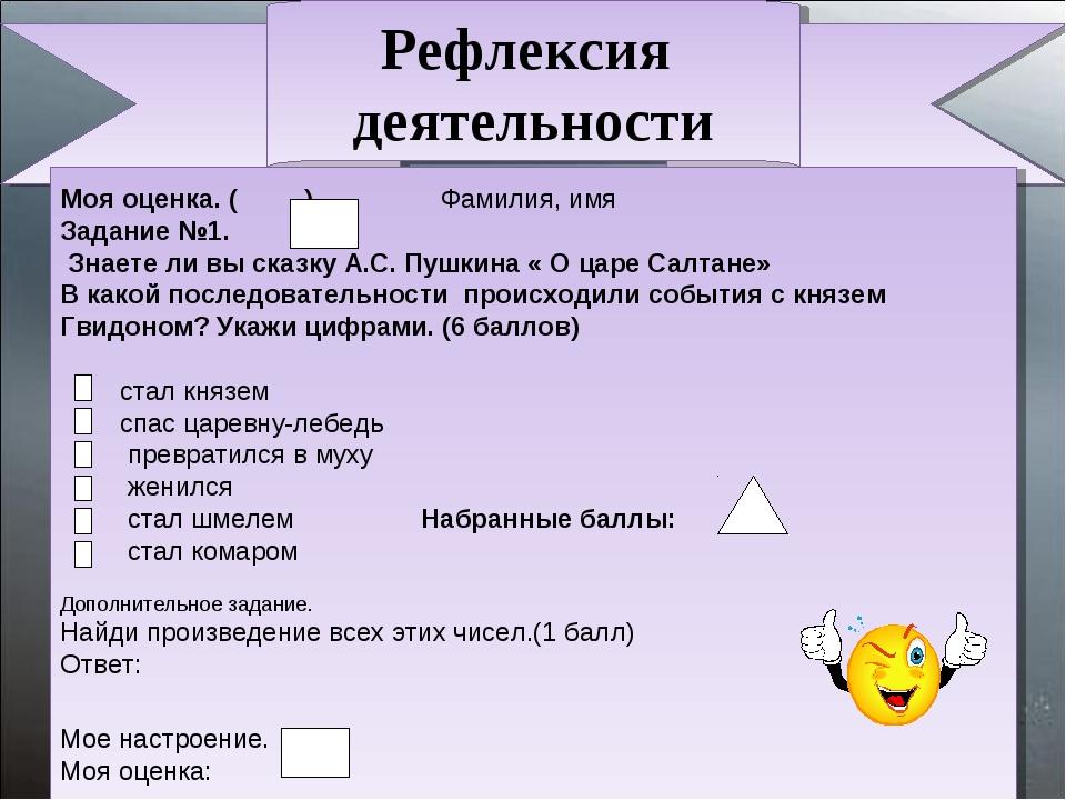 Рефлексия деятельности Моя оценка. ( ) Фамилия, имя Задание №1. Знаете ли вы...