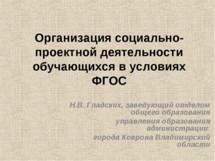Организация социально-проектной деятельности обучающихся в условиях ФГОС Н.В.