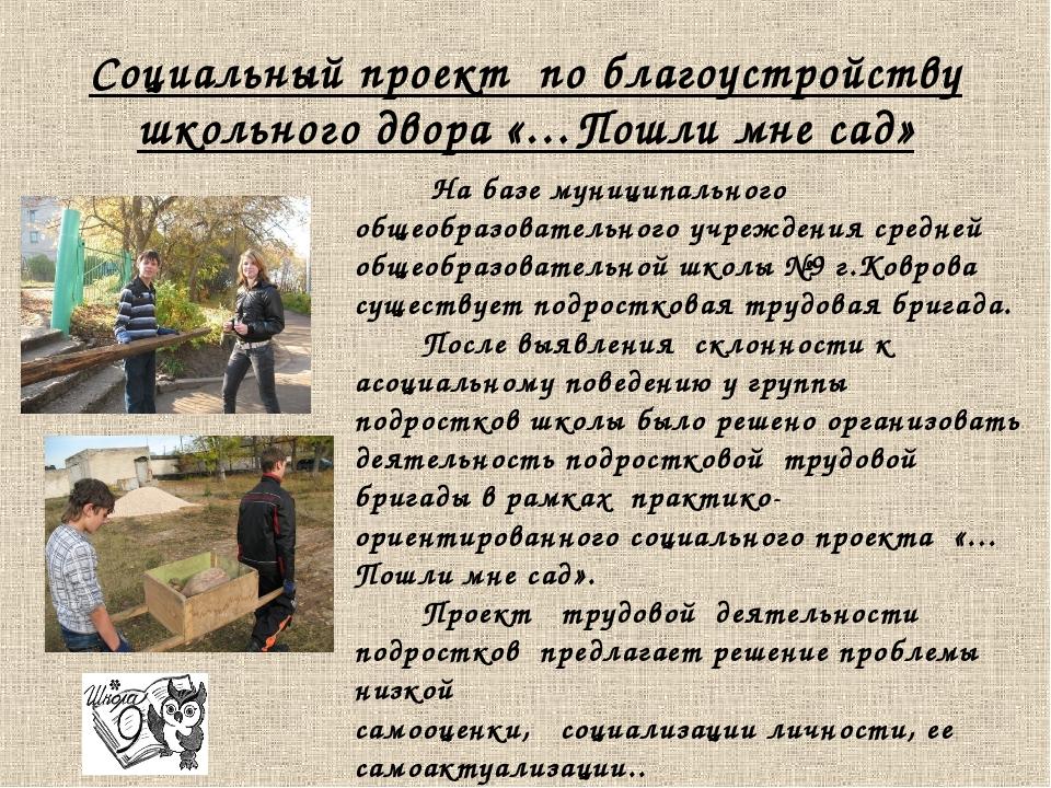 Социальный проект по благоустройству школьного двора «…Пошли мне сад» На базе...