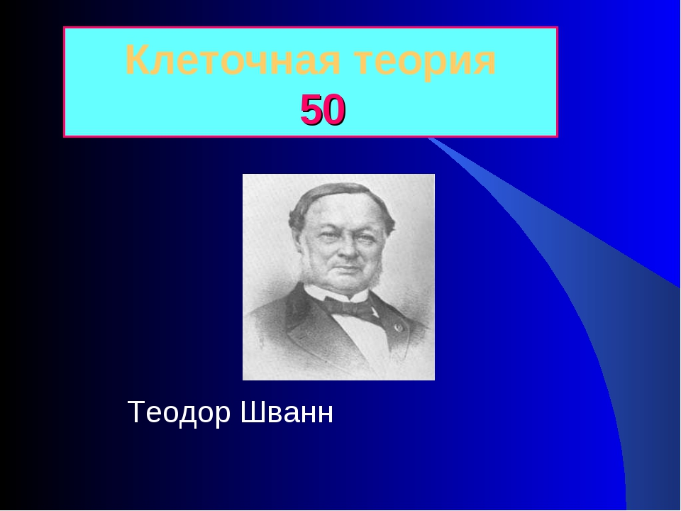 Клеточная теория 50 Теодор Шванн
