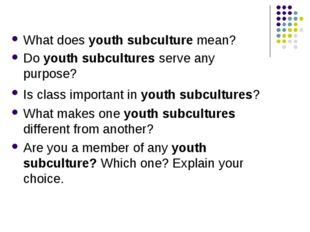What does youth subculture mean? Do youth subcultures serve any purpose? Is