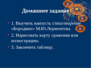 Домашнее задание 1. Выучить наизусть стихотворение «Бородино» М.Ю.Лермонтова