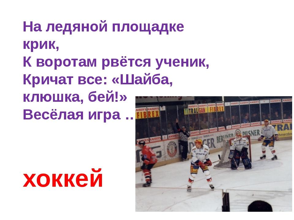 На ледяной площадке крик, К воротам рвётся ученик, Кричат все: «Шайба, клюшка...