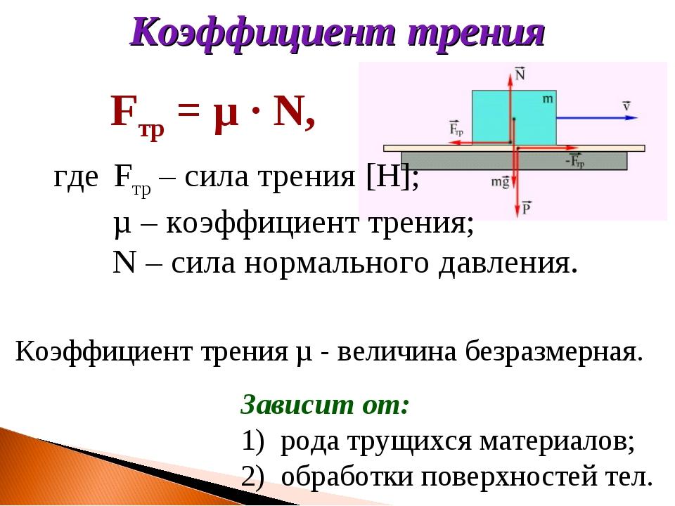 Коэффициент трения µ - величина безразмерная. Зависит от: рода трущихся матер...