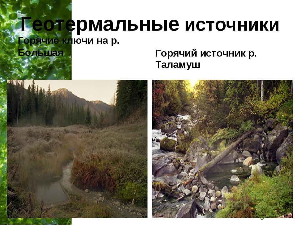 Геотермальные источники Горячие ключи на р. Большая Горячий источник р. Тала...