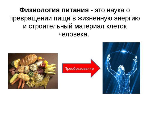 Физиология питания - это наука о превращении пищи в жизненную энергию и строи...