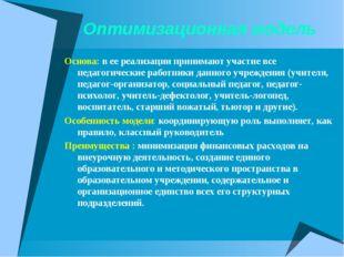 Оптимизационная модель Основа: в ее реализации принимают участие все педагоги