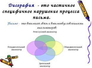 Дисграфия - это частичное специфичное нарушение процесса письма. Письмо - это