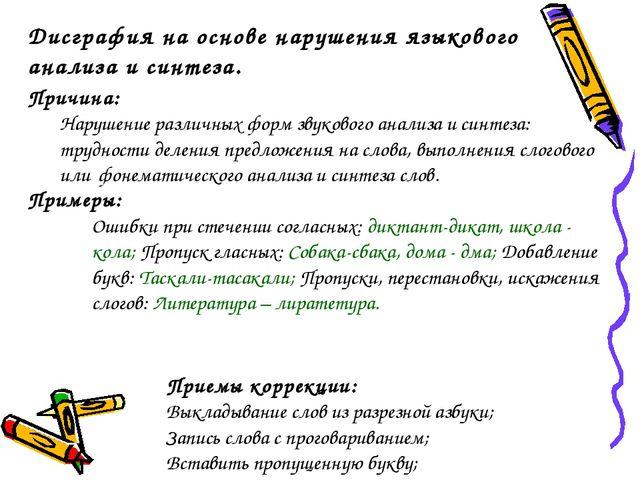 Дисграфия на основе нарушения языкового анализа и синтеза. Причина: Нарушение...