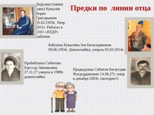 Предки по линии отца Дедушка (папин папа) Кувылёв Борис Григорьевич 05.02.195