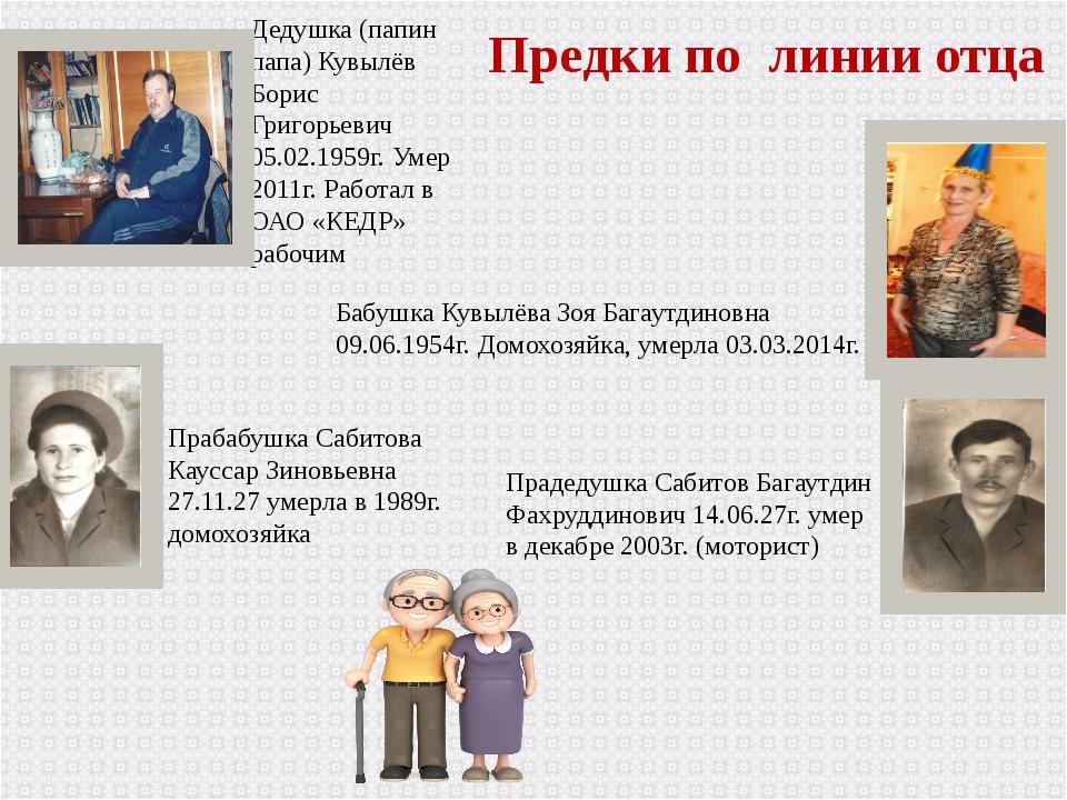 Предки по линии отца Дедушка (папин папа) Кувылёв Борис Григорьевич 05.02.195...
