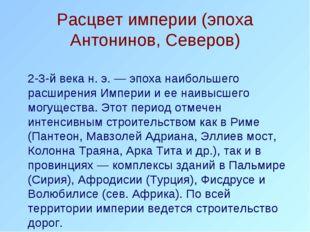 Расцвет империи (эпоха Антонинов, Северов) 2-3-й века н. э. — эпоха наибольш