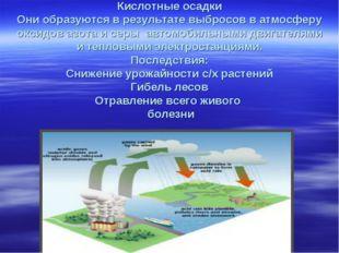 Кислотные осадки Они образуются в результате выбросов в атмосферу оксидов аз