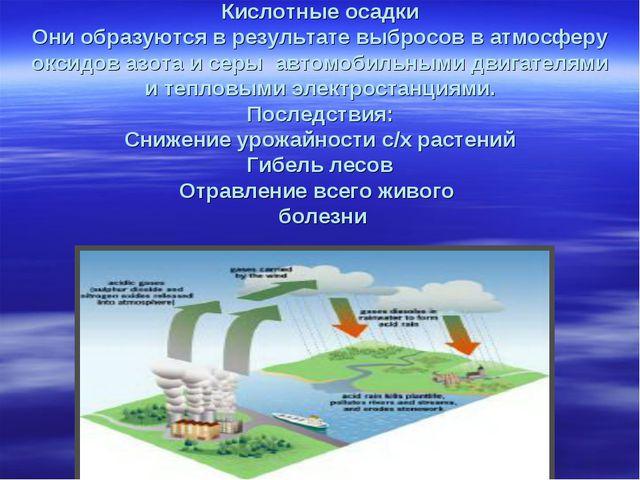 Кислотные осадки Они образуются в результате выбросов в атмосферу оксидов аз...