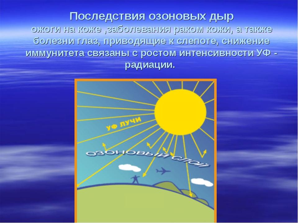 Последствия озоновых дыр ожоги на коже ,заболевания раком кожи, а также болез...