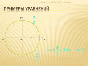 0 x y -1 1 Шевченко Г.И. ОБПОУ «ДСХТ» г. Дмитриев Гребенникова С. В. МОУ СОШ