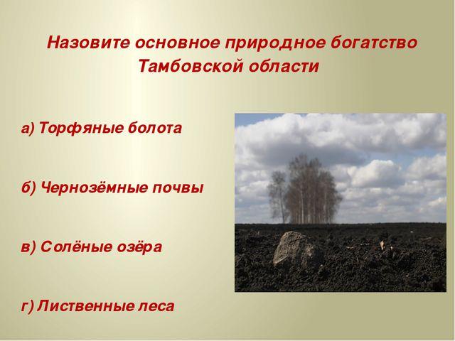 Назовите основное природное богатство Тамбовской области а) Торфяные болота...