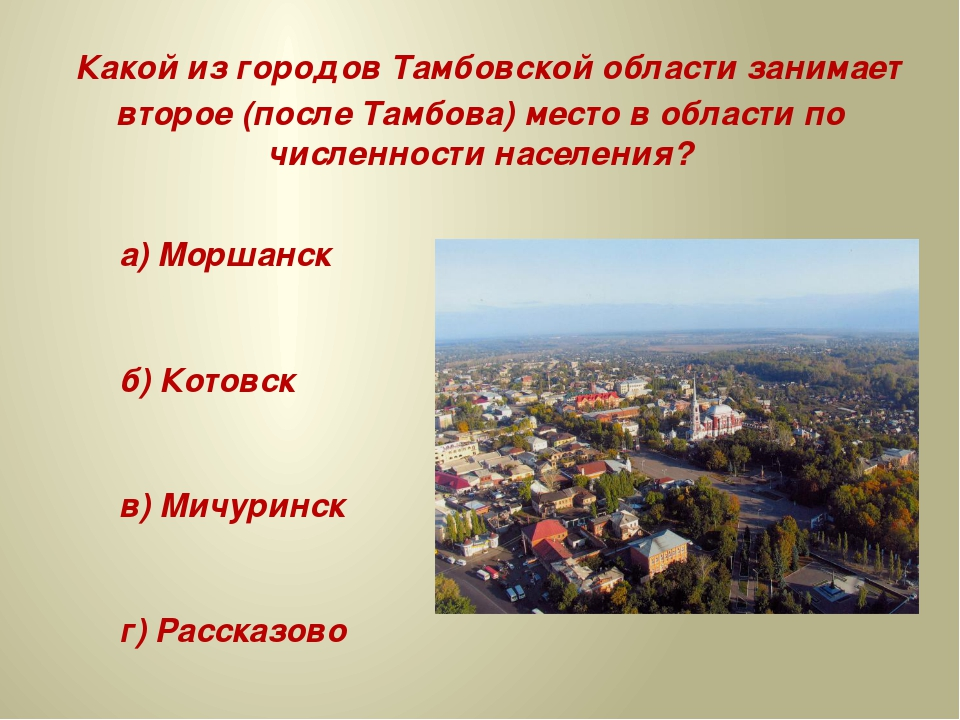 Какой из городов Тамбовской области занимает второе (после Тамбова) место в...