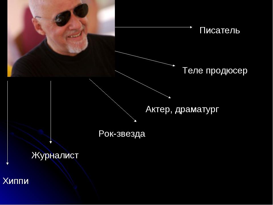 Хиппи Журналист Рок-звезда Актер, драматург Теле продюсер Писатель