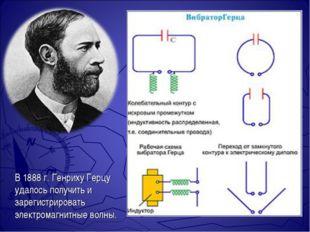 В 1888 г. Генриху Герцу удалось получить и зарегистрировать электромагнитные