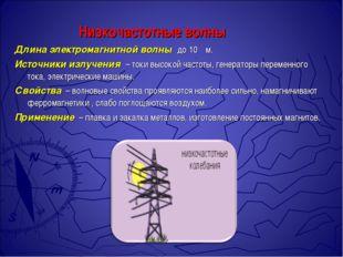 Низкочастотные волны Длина электромагнитной волны до 10 ⁵ м. Источники излуч