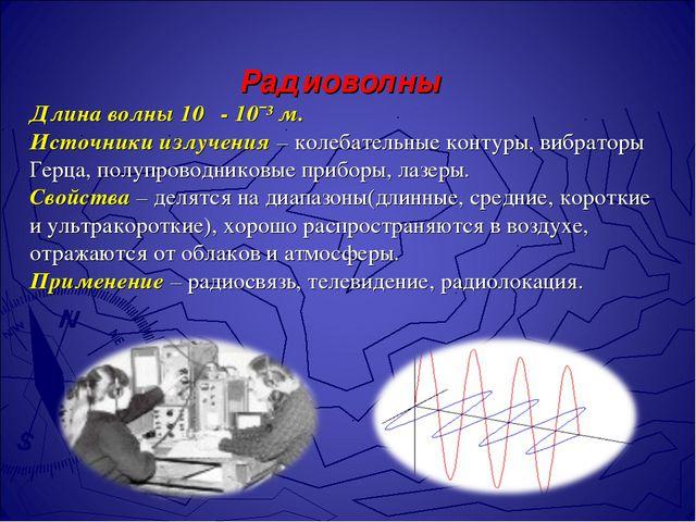 Радиоволны Длина волны 10 - 10ˉ³ м. Источники излучения – колебательные к...