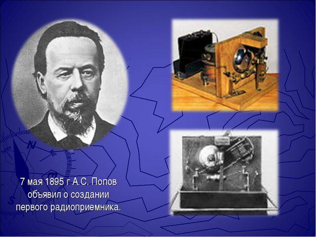 7 мая 1895 г А.С. Попов объявил о создании первого радиоприемника.