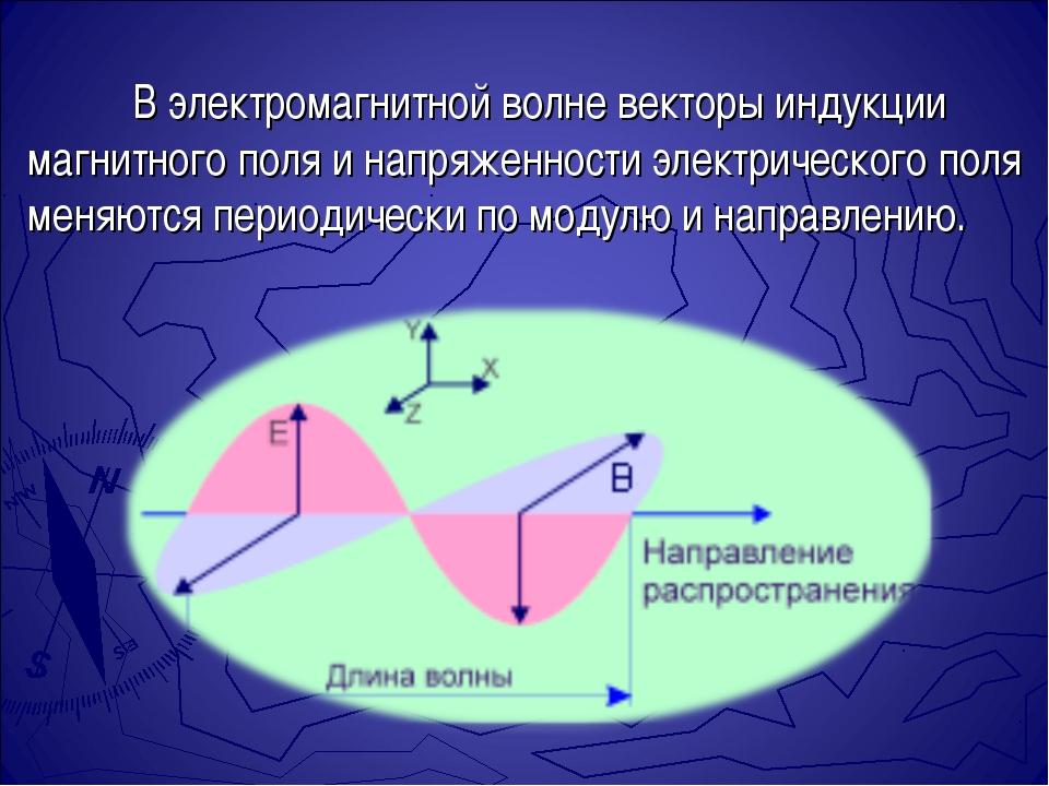 В электромагнитной волне векторы индукции магнитного поля и напряженности эл...