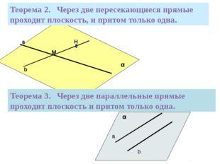 Теорема 2. Через две пересекающиеся прямые проходит плоскость, и притом толь