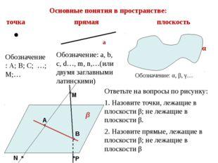 Основные понятия в пространстве: точка прямая плоскость α β Обозначение: А; В