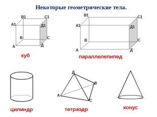 Некоторые геометрические тела. параллелепипед тетраэдр цилиндр конус А В С Д