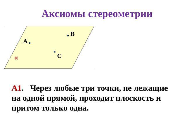 А В С А1. Через любые три точки, не лежащие на одной прямой, проходит плоско...