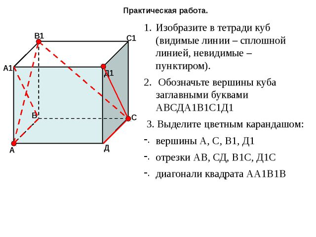 Практическая работа. Изобразите в тетради куб (видимые линии – сплошной линие...