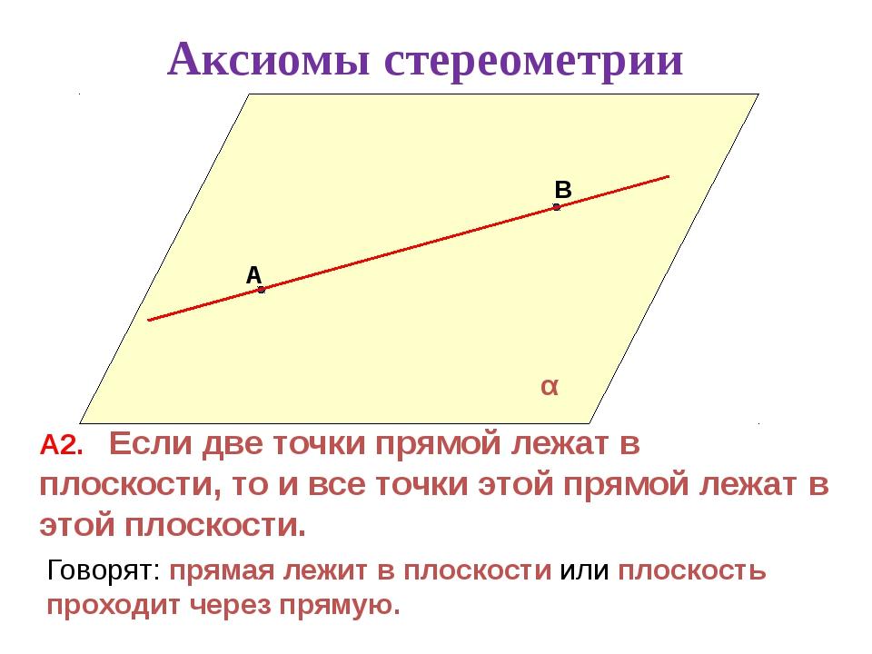 А В α А2. Если две точки прямой лежат в плоскости, то и все точки этой прямо...