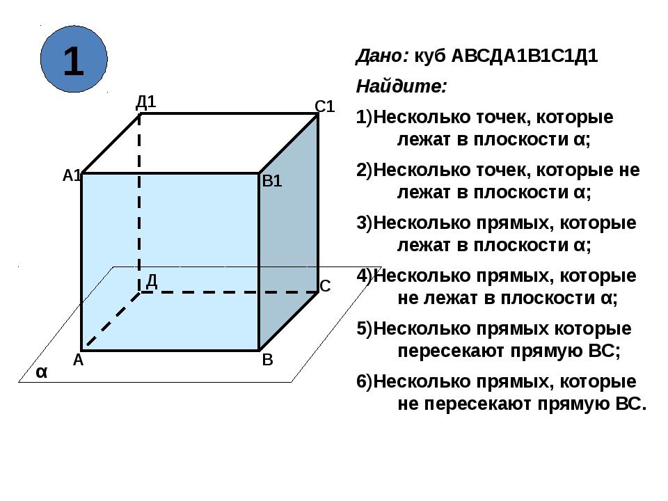 А В С Д А1 В1 С1 Д1 α Дано: куб АВСДА1В1С1Д1 Найдите: Несколько точек, котор...
