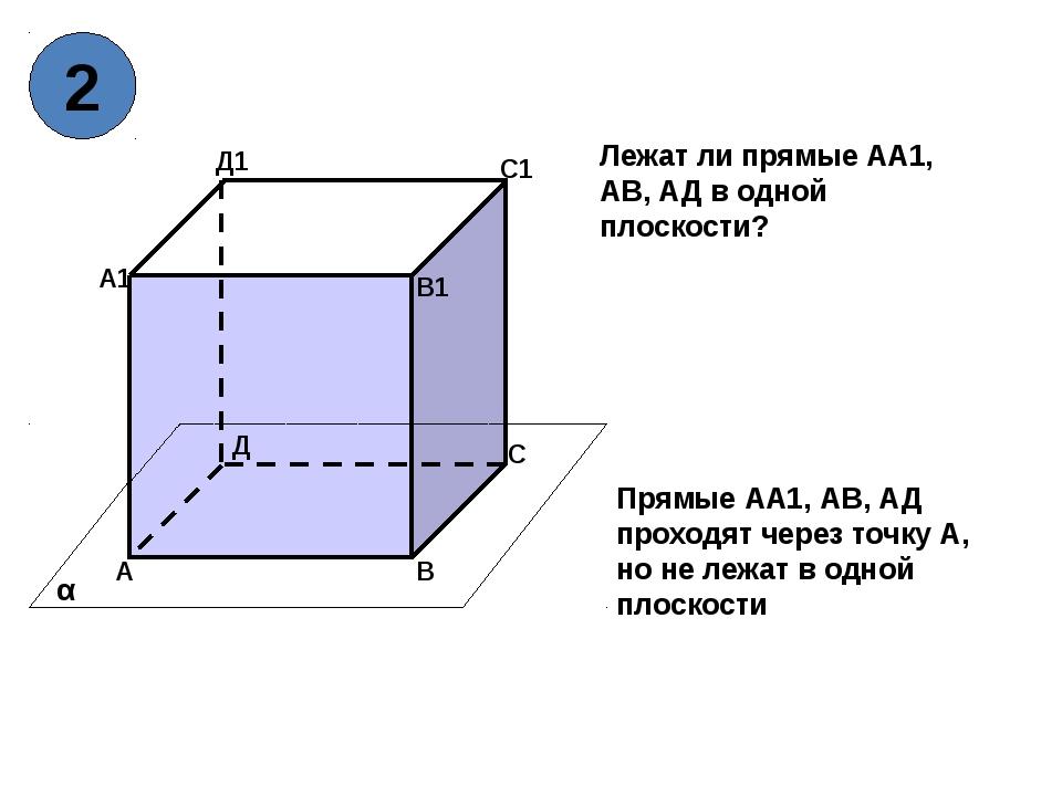А В С Д А1 В1 С1 Д1 α Прямые АА1, АВ, АД проходят через точку А, но не лежат...